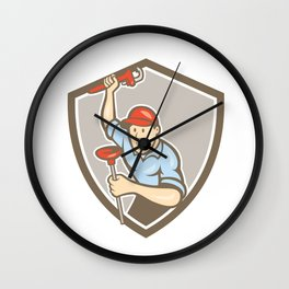 Plumber Wrench Plunger Front Shield Cartoon Wall Clock