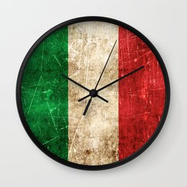 Vintage Aged and Scratched Italian Flag Wall Clock