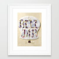sylvia plath Framed Art Prints featuring The Bell Jar by Sylvia Plath Book Cover by Erin Maala