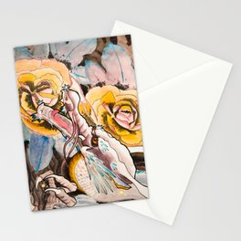 Water Color Dragon and Peonies Stationery Cards