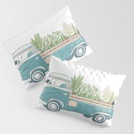 TukTuk Cat Van/truck deliver Plants & Flower Pillow Sham