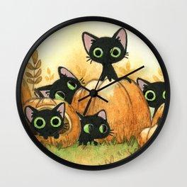 Black cats and pumpkins Wall Clock