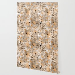Beige floral pattern. Wallpaper
