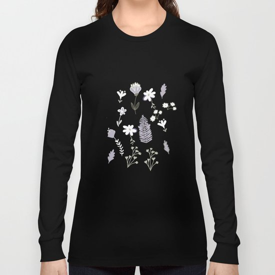 Dark Pastel Violet Flower Pattern Long Sleeve T-shirt