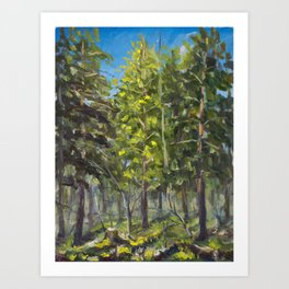 Sunny landscape in a spring forest oil painting on canvas. Artist Valery Rybakow Art Print
