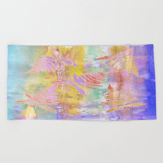 Colorful Fern Leaves W Beach Towel
