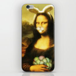 Easter Mona Lisa with Whiskers and Bunny Ears iPhone Skin