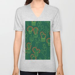 cute cactus pattern with dots Unisex V-Neck