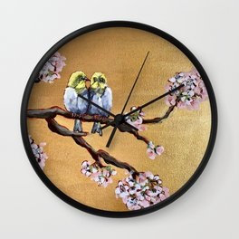Cherry Blossom Chicks Wall Clock