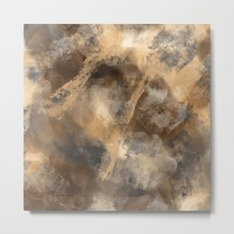 Stormy Abstract Art in Brown and Gray Metal Print