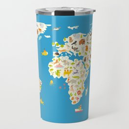 Map of the World with animals. Beautiful colorful vector illustration. Travel Mug