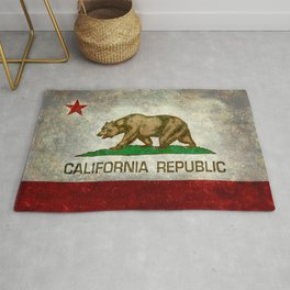 Californian flag the Bear flag in retro grunge Rug
