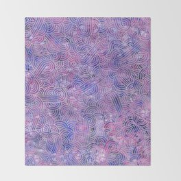 Purple and faux silver swirls doodles Throw Blanket