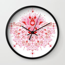 Lotus Blossom Mandala – Red & Pink Palette Wall Clock