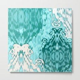 Ikat Medallions: Sea Green Metal Print