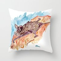 bat Throw Pillows featuring Bat by Elena Sandovici