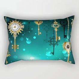 Antique Keys on Green Background ( Steampunk ) Rectangular Pillow
