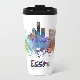 Essen skyline in watercolor Travel Mug
