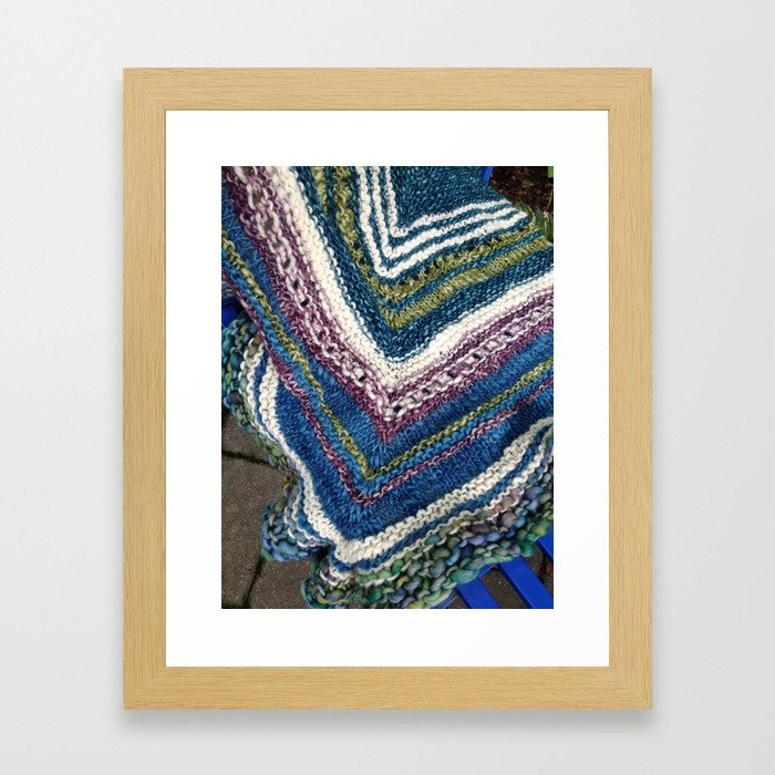 Waves of Knitting Shawl Framed Art Print
