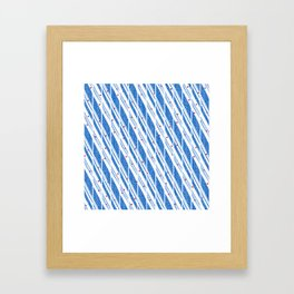Candy Cane Blue Stripes Holiday Pattern Framed Art Print