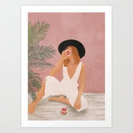 Woman with Oranges Art Print