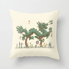 The Night Gardener - Dragon Topiary  Throw Pillow
