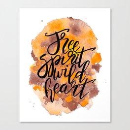Free Spirit, Wild Heart Watercolour Canvas Print