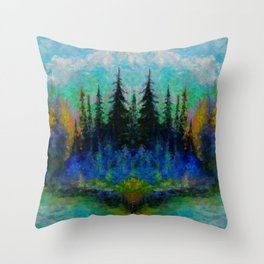NORTHERN  BLUE & AQUA SPRUCE  PINES ISLAND ART Throw Pillow