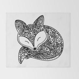 Black and White Mandala Fox Design Illustration Throw Blanket
