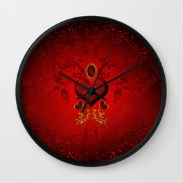 Wonderful hearts with floral elements, kisses Wall Clock