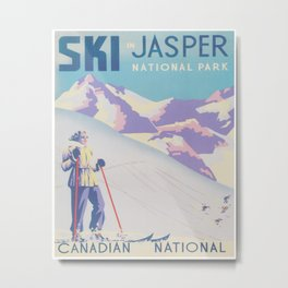 Sk Jasper, Canada Vintage Ski Poster Metal Print