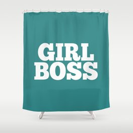 Girl Boss - Aqua and White Shower Curtain