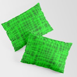 Square intersections green lines on a dark tree. Pillow Sham
