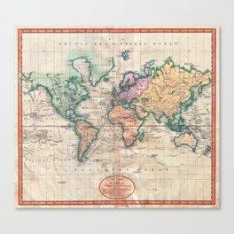 Vintage World Map 1801 Canvas Print