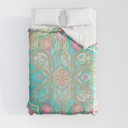 Floral Moroccan in Spring Pastels - Aqua, Pink, Mint & Peach Duvet Cover