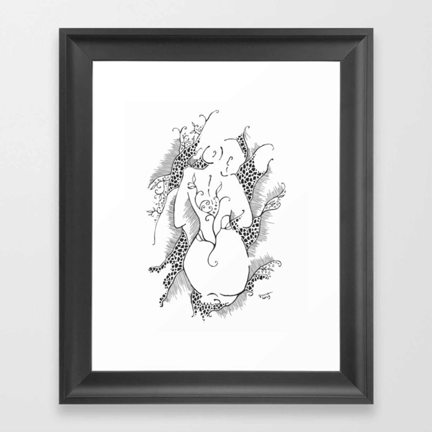 Female nude sketch woman from back black and white ink drawing framed art print