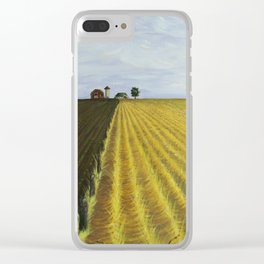 Alone, Farm, Acrylic on Canvas Clear iPhone Case