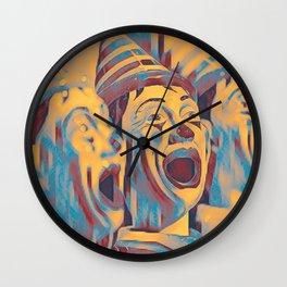 Clown Class (blocked blue & cyan) Wall Clock
