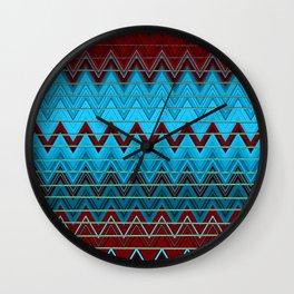Maroon Periwinkle and Navy Retro Zig Zag Wall Clock