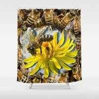 bees Shower Curtains featuring Bees by Moody Muse