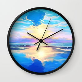Sunset on the sea Wall Clock