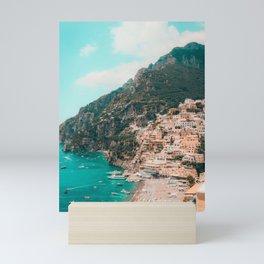Italian Seaside City under a Mountain Mini Art Print