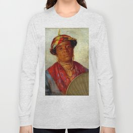 African American Masterpiece 'Woman with Gold Necklaces' by Helen Watson Phelps Long Sleeve T-shirt
