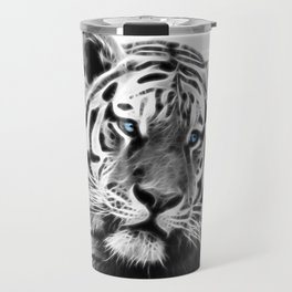 Black and white fractal tiger Travel Mug
