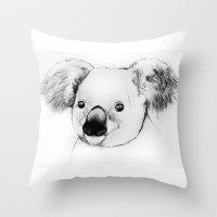 koala Throw Pillows featuring koala by Кaterina Кalinich