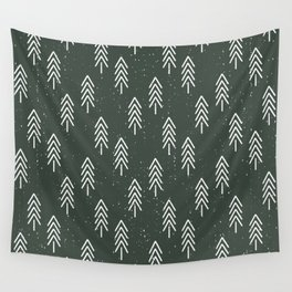 Pine Trees . Olive Wall Tapestry