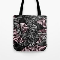 gray pattern Tote Bags featuring Abstract Pattern - Gray & Pink by Georgiana Paraschiv