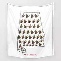 alabama Wall Tapestries featuring ASL - Alabama by EloiseArt