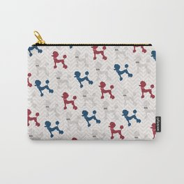 Modern red navy blue gray poodle pastel brown chevron Carry-All Pouch