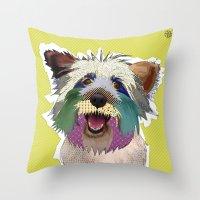 terrier Throw Pillows featuring Terrier by TiannaHarman